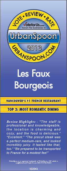 Urban Spoon-#1 French, Top 2 Romantic Restaurants—Vancouver